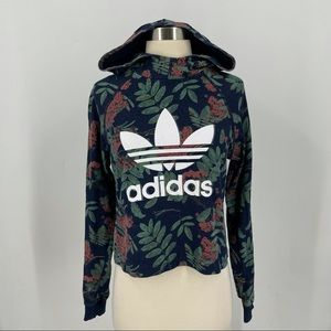 Adidas Floral crop hoodie size Medium